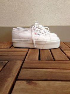 Deadstock Hella 90s Superga White Canvas Platform Lace Up FLATFORM Sneaker Spice Girls Tennis Shoes 9.5 10 10.5 41