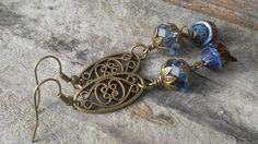 Montana Blue Earrings Brass Bohemian Rustic Earthy by TeslaDesigns, $16.00