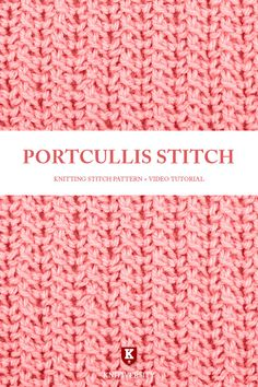 This stitch is more complicated than it appears. Using only two rows it manages to create an intricate, almost woven style fabric that looks quite unique. Crochet Stitches Free, Knitting Stiches, Easy Knitting Patterns, Knitting Videos, Free Knitting, Knitting Socks, Stitch Patterns, Knit Crochet, Crochet Patterns