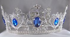RHINESTONE IMPERIAL CELTIC JEWELLED MEN'S SILVER BLUE SAPPHIRE CROWN Magnificent full crown, made with the best clear and blue sapphire color rhinestones combination plated in silver plated metal.Eleg