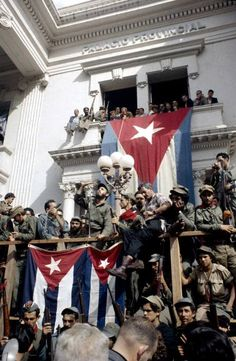Colorized picture of Fidel Castro giving his first speech after the liberation of Santa Clara, 1959.