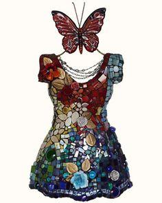 """""""Garden Party"""" - 3D dress mosaiced by Susan Weschler"""