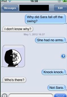 New Funny Jokes Knock Knock Lol Hilarious Ideas Funny Shit, Short Jokes Funny, Good Jokes, Haha Funny, Funny Texts, Funny Stuff, Funny Things, Freaking Hilarious, Silly Jokes