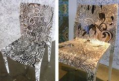 chairs decorated by Jessie and Claudia of Pattern People.