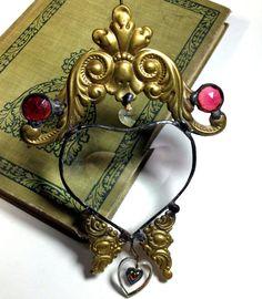 Vintage Brass Glass Heart Shaped Suncatcher by VintageRerun, $14.00