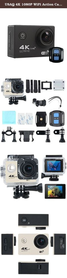USAQ 4K 1080P WiFi Action Camera with Complete Accessory Package and Remote Waterproof Case - Black. Features: 1. SONY IMX179 sensor 2. 170 degree HD wide angle lens 3. Maximum video resolution: 4K @30fps 4. 2 inch LCD HD screen 5. Unique slow photography function 6. High color reduction, good image permeability 7. Low power consumption, WIFI video work more than 1.5 hours 8. Can be use for Extreme sports,Outdoors,Bicycle,Diving,Home security,etc. Video Resolution: 4k - 30FPS 2K - 30FPS...