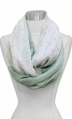Polka Dot Infinity Scarf in Soft Sage