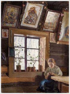 Jan Walach (Poland, 1884-1979) «Girl at the window» 1911 Короткий зимний морозный день, когда каждую минуту…