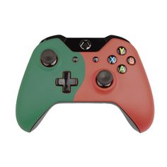 Custom Xbox One Controller  Wireless Glossy   Half-Fir Green-And-Half-Flame Red