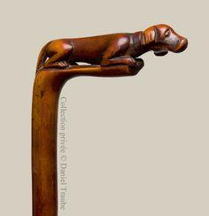 Canne art populaire monoxyle - Chien de chasse - chien d'arrêt - Fin XIXème siècle