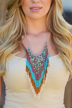 Catching Dreams Statement Necklace - Turquoise from Closet Candy Boutique