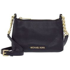 Michael Michael Kors Bedford Black/ Gold Crossbody (2.046.035 IDR) ❤ liked on Polyvore featuring bags, handbags, shoulder bags, black, black crossbody, chain strap crossbody, chain strap purse, black crossbody purse and crossbody shoulder bags