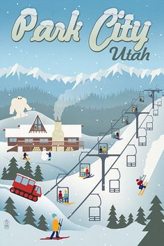 Park City, Utah - Retro Ski Resort (Art Prints available in multiple sizes)