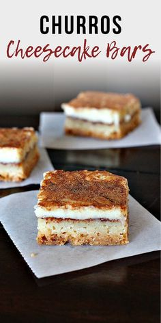Perfect Kid-friendly Mexican Dessert These Churros Cheesecake Bars are Killer. Easy and addicting a great kid dessert. Mexican Dessert Recipes, Best Dessert Recipes, Delicious Desserts, Dinner Recipes, Yummy Food, Churros, Sopapilla Cheesecake Bars, Cheesecake Desserts, Pozole
