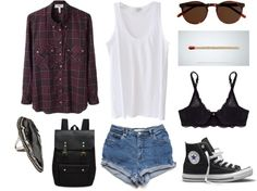Maroon Flannel + White Tank + High Waisted Denim Shorts + Black Lace Bralette + High Top Converse #vintage #90s