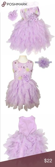 Popatu Lavender Sequins Dress Brand new with tags. Includes headband. Fully lined. Very beautiful. Size 5/6.  Colorful flower sequinned pattern petti dress. Sleeveless and with a lavender flower bow at the waistline and a matching flower headband makes this dress more eye-catching. Wonderful first birthday dress, pageant dress or other special occasion dress. Great for twirl and play.  Comes with a matching flower headband Fringed tulle skirt Top has colorful sequinned flowers Popatu Dresses