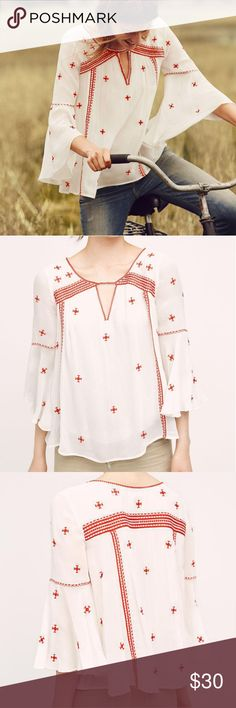 Anthropologie Embroidered Top Like New Size 2 Tags attached  Lite spot on shirt that can be wash out Retail price $128 Anthropologie Tops Blouses