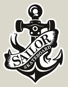 Adesivo #SailorSkateboard - Âncora