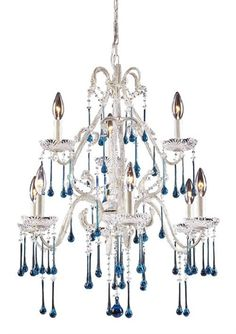 Rosenberry Rooms has everything imaginable for your child's room! Share the news and get $20 Off  your purchase! (*Minimum purchase required.) Opulence Antique White Nine Arm Chandelier with Aqua Crystals #rosenberryrooms
