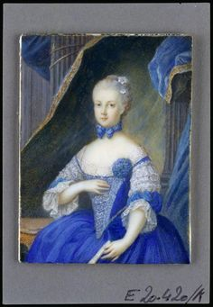 Marie Antoinette, Archduchess of Austria Portrait in blue dress with lace sleeves, closed compartments in the left. Watercolor on ivory, artist unknown.  Vienna, Hofburg,  Dating about 1767