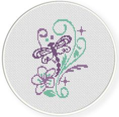 Charts Club Members Only: Dragonfly Sparkles Cross Stitch Pattern