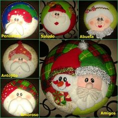 MOGOLLAS PAPÁ NOEL Quilted Christmas Ornaments, Santa Ornaments, Christmas Fabric, Felt Christmas, Christmas Cookies, Christmas Crafts, Xmas, Fabric Balls, Beach Crafts