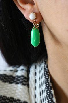 Vintage Avon Green Dangle Clip On Earrings - Green and White Dangle Earrings