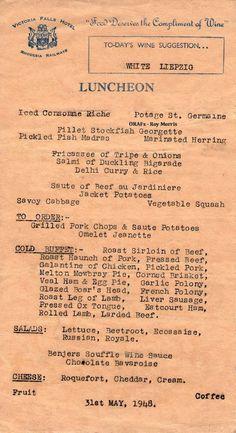 Our Rhodesian Heritage: Victoria Falls Hotel Menu's 1948