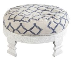 """Tallula Hand Woven Cotton / Wooden Frame Ottoman. w30""""d30""""h11"""""""