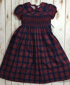 Strasburg Red Navy Blue Short Sleeve Smocked Long Classic Dress Girls 4 New   eBay