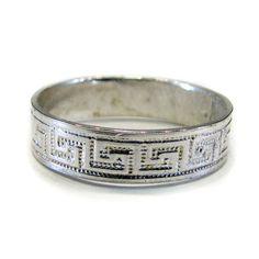 Sterling Silver Wedding Ring Greek Key Design by Jewelry24Seven, $37.99