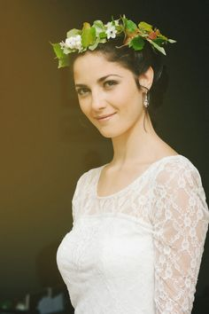 a beautiful bridal crown with greenery |  French Wedding Blog