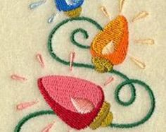 Bright Lights of Christmas Stack Machine Embroidered On Felt Christmas Ornament