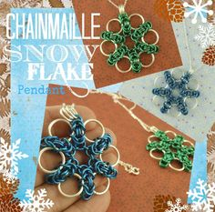 Snow Flake Byzantine Necklace Kit -  Versatile, Fun, and Easy Chainmaille - You PICK Color. $ 24.00, via Etsy.