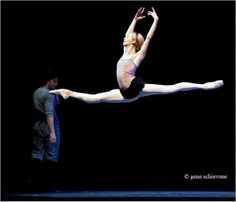 "A ""happy Friday"" jump for joy: Iana Salenko and Herman Cornejo in rehearsal. Photo by Gene Schiavone."