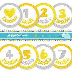 Yellow and Grey Unisex Monthly Baby Onesie Stickers by SunshineBabiesCo, $9.99