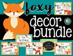 Fox Theme Class Decor Bundle! Bundle includes 6 products for use in the elementary classroom.