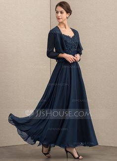 8f63bf471cb A-Line Princess V-neck Ankle-Length Chiffon Lace Mother of the Bride Dress  With Sequins - DressFirst