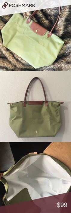 LAST CHANCE❗️Longchamp Le Pliage Tote Olive Green Super pretty and perfect for fall! Olive green color with brown leather and trim. Like new condition, no noticeable flaws or stains to outside. Extremely minor wear to inside. Comes with authenticity card. Approximately 18.5 inches wide, 12 inches long. No trades!! 0829167500gws Longchamp Bags Totes