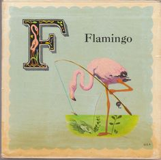 F is for Flamingo Retro Vintage Alphabet Fabric Block - Great for Quilting, Pillows & Wall Art - Buy Get 1 FREE Vintage Cards, Vintage Images, Retro Images, Vintage Ephemera, Vintage Postcards, Art Images, Deco Dyi, Fabric Crafts, Paper Crafts