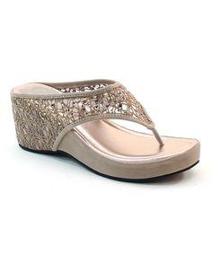 Taupe Lace & Rhinestone Wedge Sandal | zulily