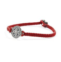 Red Macrame Wax Cotton Bracelet with Sterling Silver Solomon Seal Love Charm for Women