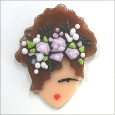 "Summertime Diva brooch - 2"" X 2 3/4"". Each piece of glass is cut by the artist, layered and fused in a high temperature kiln. A high quality pin back is adhered to the back with a strong glass adhesive."