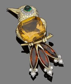 A gem-set novelty brooch, by Cartier London, circa 1950.  Designed as a bird resting on a branch, the body set with a cushion-shaped citrine, the head decorated in chased feather detailing, with a cabochon emerald and single-cut diamond eye, the tail feathers collet-set with marquise-cut citrines, terminating in trefoils of single-cut diamonds, signed Cartier London, length 5.8cm, fitted maker's case