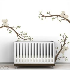 LittleLion Studio Tree Branches Koala Wall Decal Color: L.Beige / Charcoal / Metallic Copper / Ol.Green