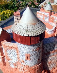 building the tower - foam walls , cardboard shingles - model castle - diorama