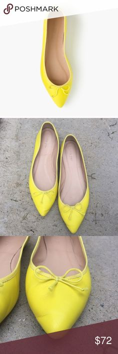 J. Crew Yellow Pointy Ballet Flats with Bow Adorable yellow pointy flats with bow. Worn a few times but in great condition. Bottom is a bit dirty. Adds a pop of color to an outfit! Size 8.5. J. Crew Shoes Flats & Loafers