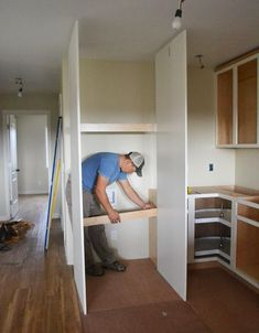 Boxing in Fridge with Cabinetry - Momplex Vanilla Kitchen Refrigerator Cabinet, Built In Refrigerator, Building Kitchen Cabinets, Diy Kitchen Cabinets, Kitchen Ideas, Painting Wooden Furniture, Home Furniture, Kitchen Furniture, Antique Furniture