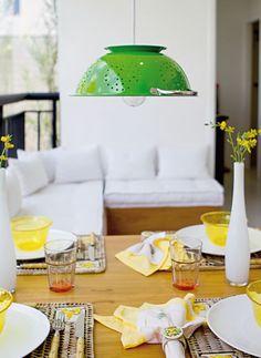 luminária com escorredor de macarrão