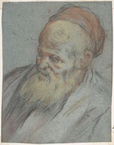 Jacopo Bassano (Jacopo da Ponte), c.1510-1592, Italian, Bust-Length Study of a Bearded Man with Cap in Three-Quarter View, 1510-92.  Pastel and charcoal on blue paper, 13.3 x 11.4 cm.  The Metropolitan Museum of Art, New York.  Mannerism.